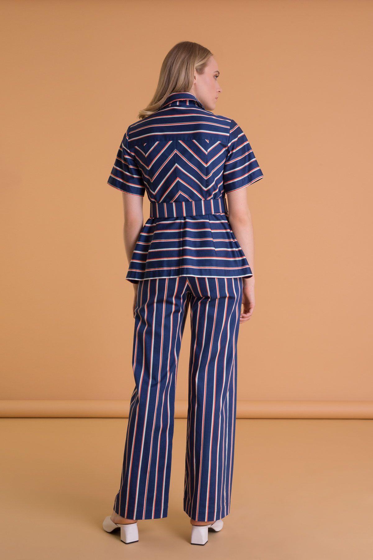 Çizgi Desenli Yüksek Bel Lacivert Pantolon