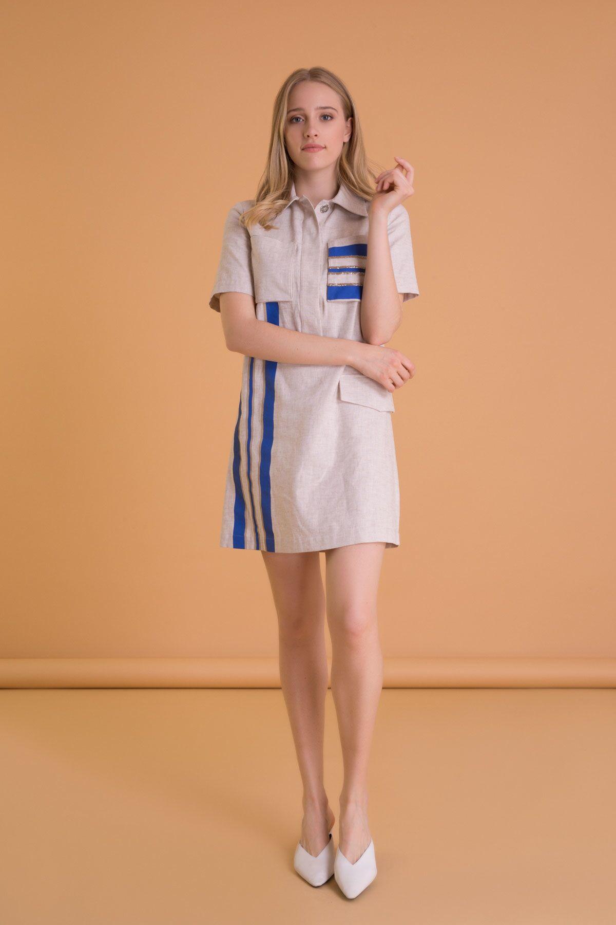 Çizgi Detaylı Gömlek Yaka Bej Mini Elbise