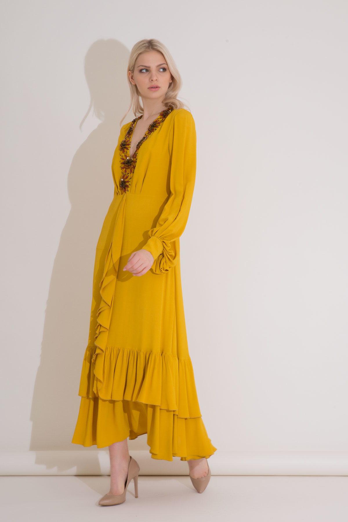 Collar Embroidered Saffron Color Ruffle Long Dress