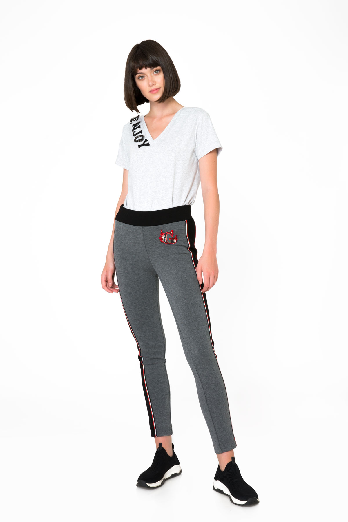 Contrast Band Detail Gray Sport Leggings