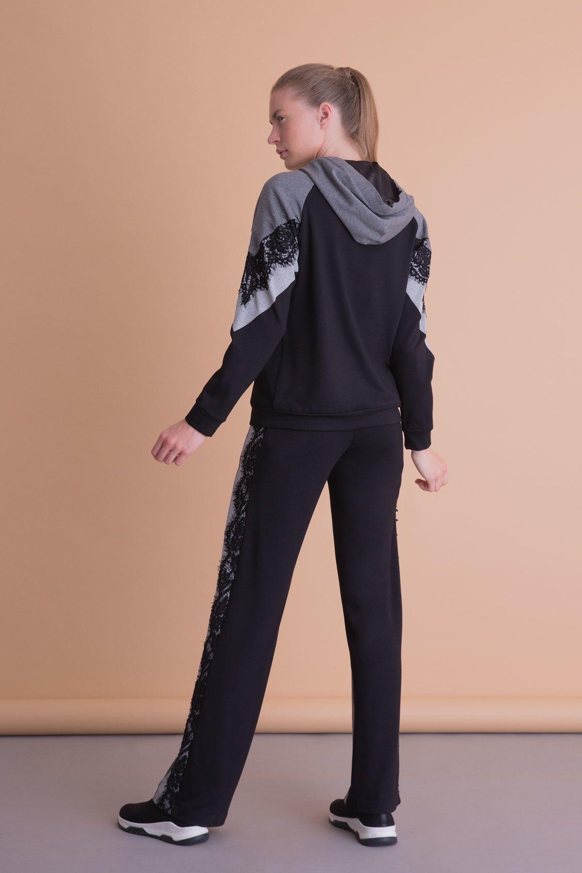 Dantel Detaylı Siyah Antrasit Kapüşonlu Sweatshirt