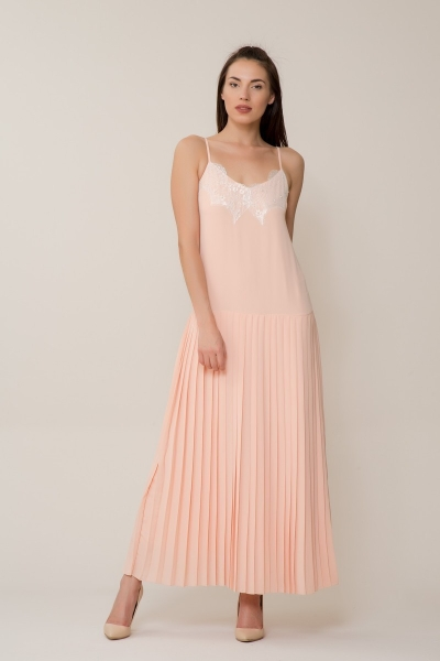 GIZIA CASUAL - Dantel İşlemeli Pudra Uzun Elbise