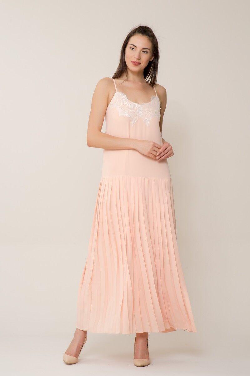 Dantel İşlemeli Pudra Uzun Elbise