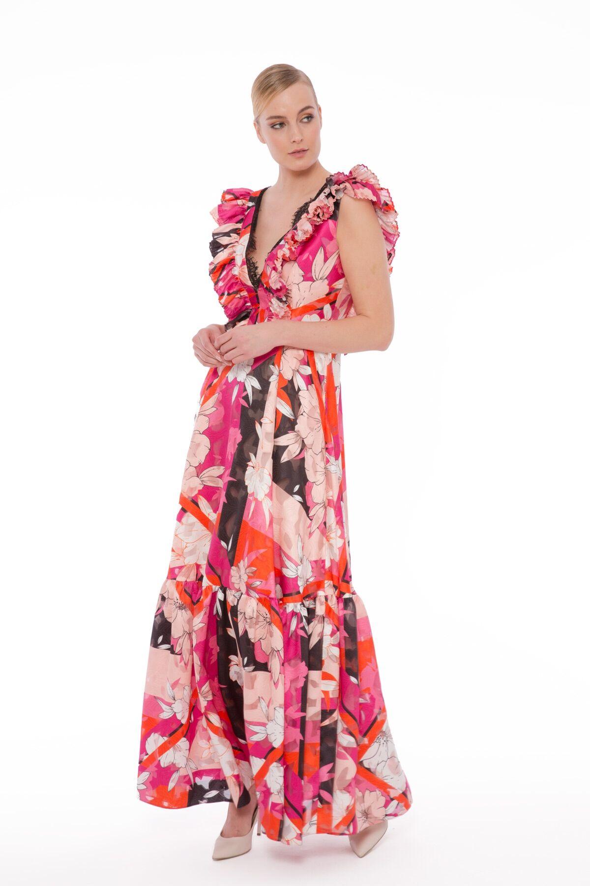 Dantel Ve Volan Detaylı Çiçekli Uzun Elbise