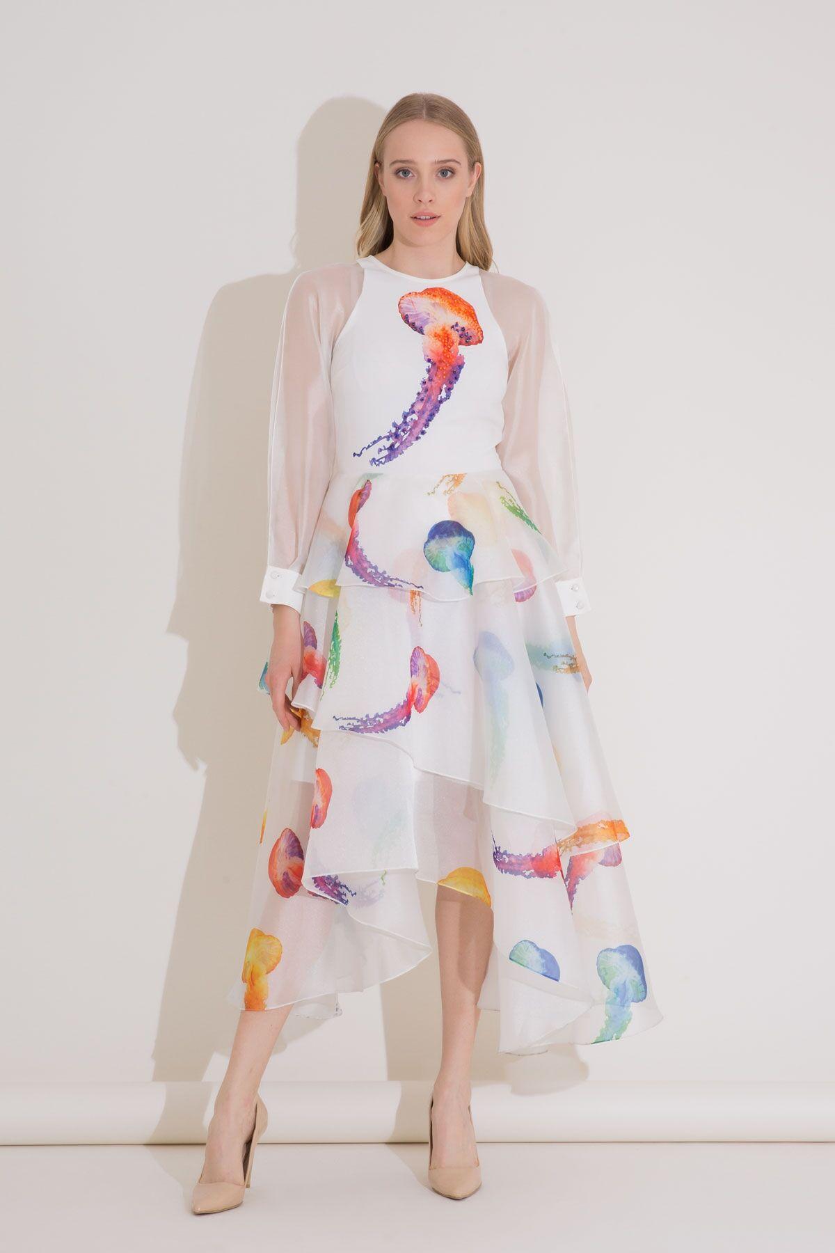 Denizanası Baskılı 3 Volanlı Organze Elbise