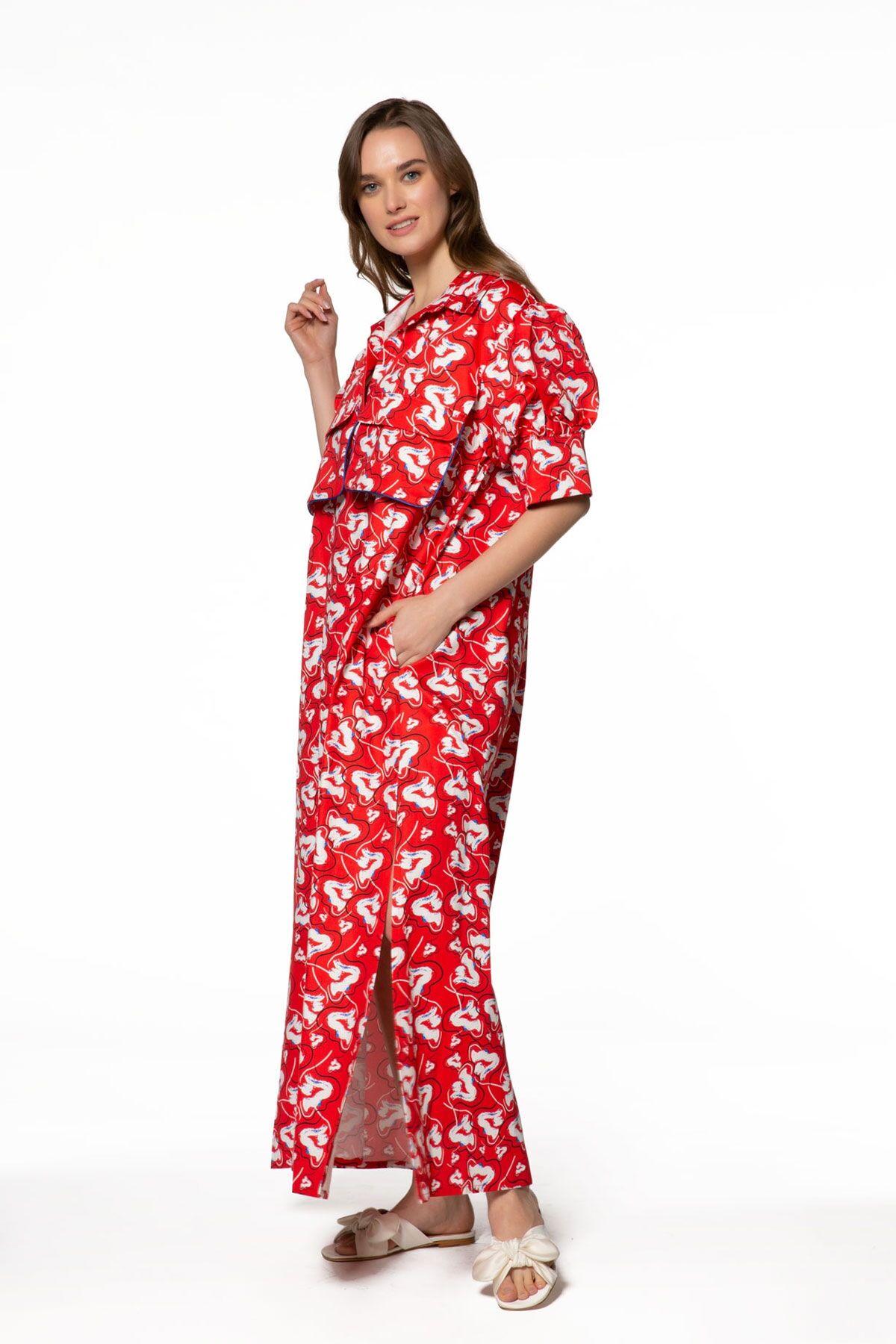 Desenli, Cep Detaylı Uzun Kırmızı Elbise