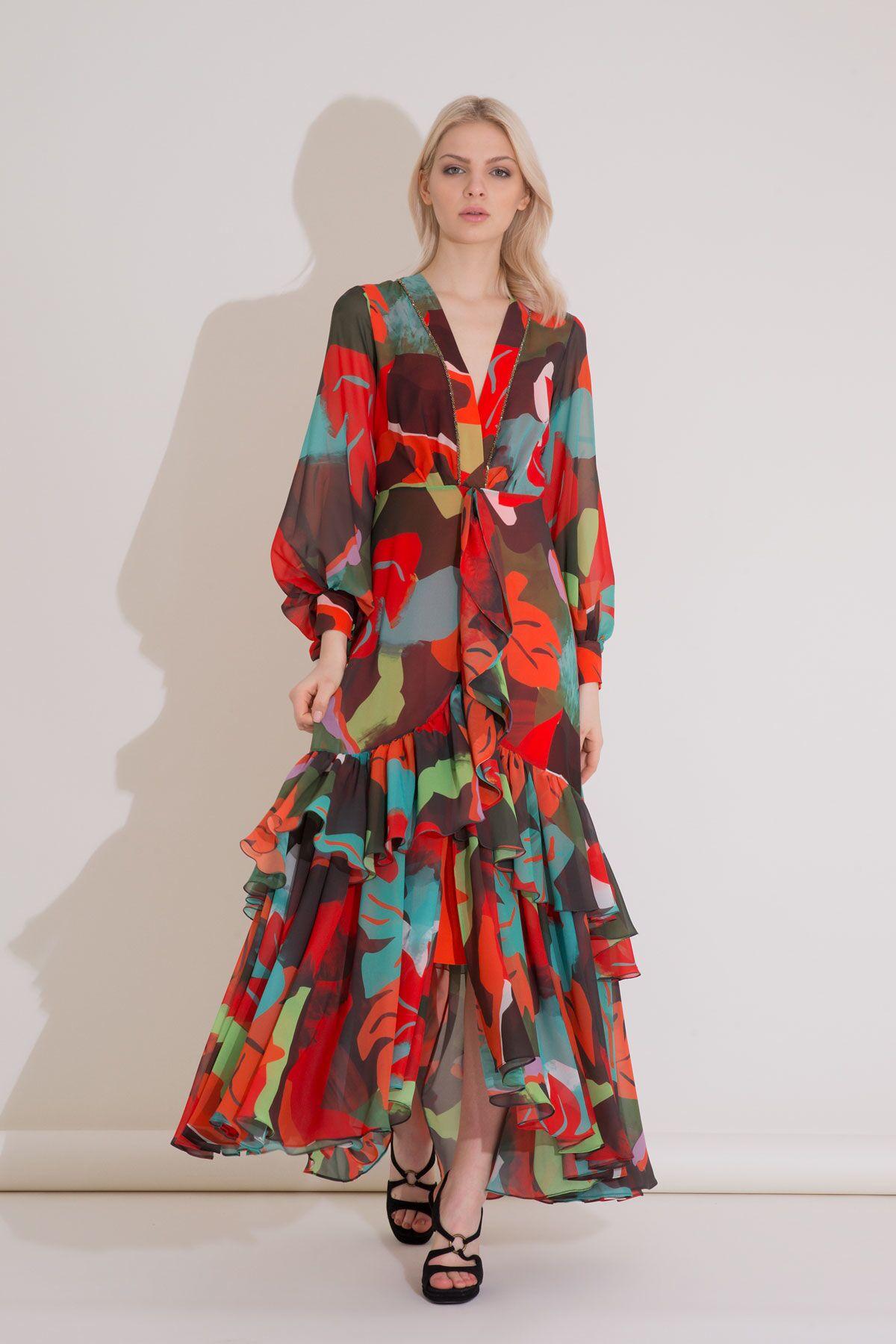 Desenli Karışık Renkli V Yaka Uzun Şifon Elbise