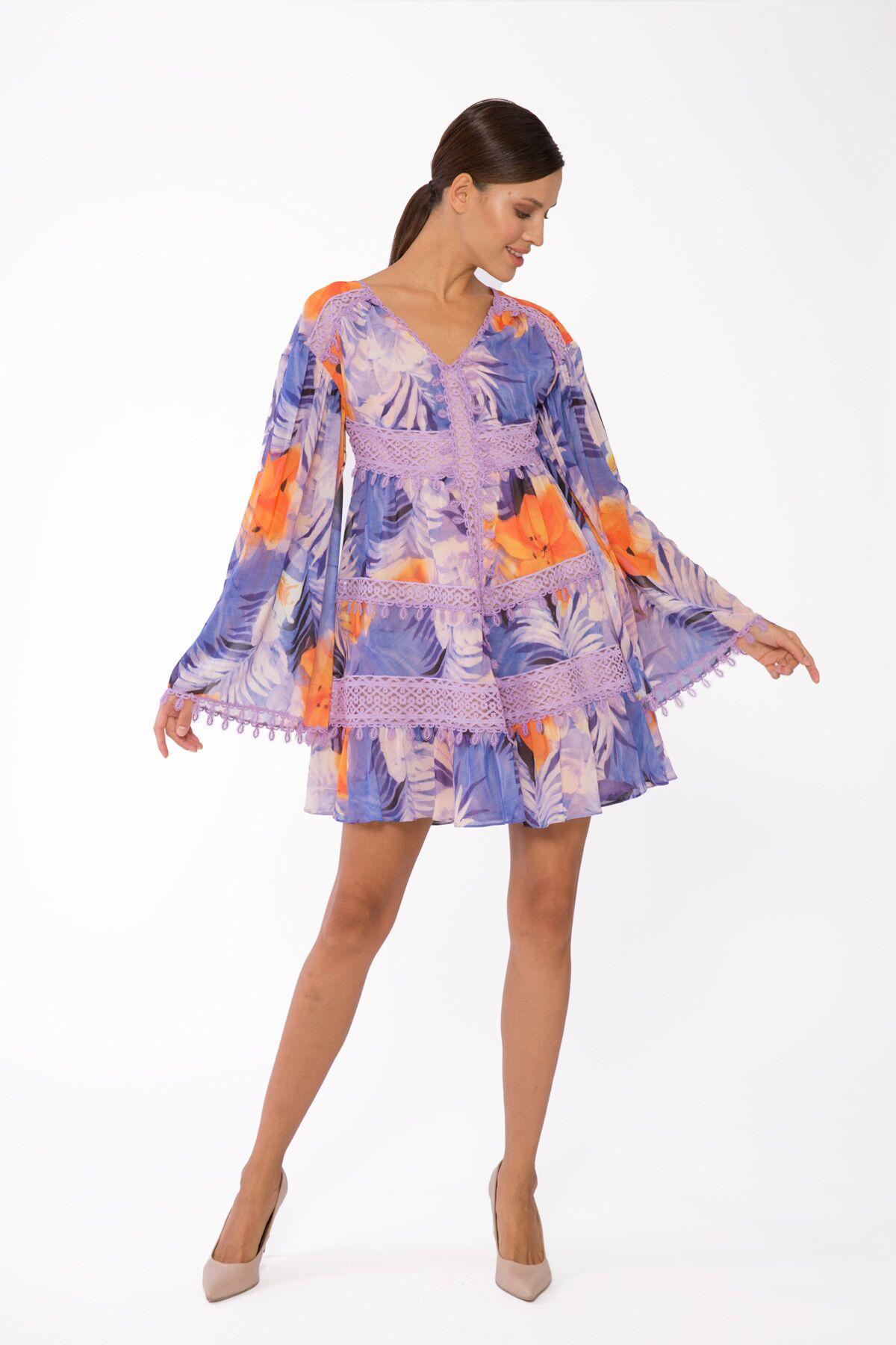 Desenli Şifon, Dantel Şerit Detaylı Mini Elbise
