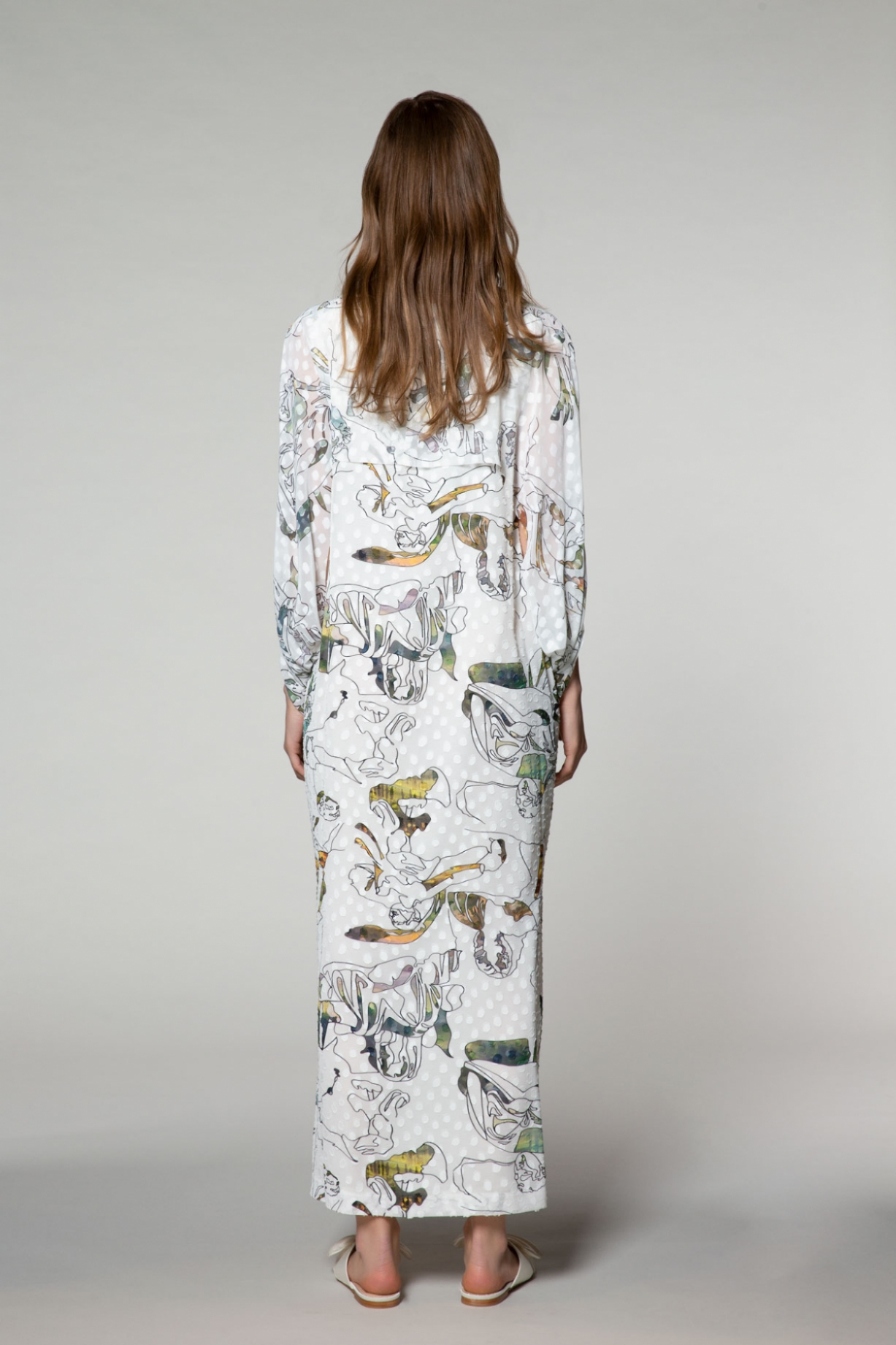 Desenli, V Yaka, Yırtmaçlı Uzun Elbise