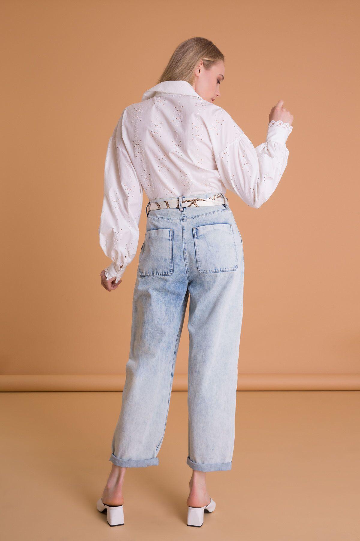 Desenli Kemerli Salaş Görünümlü Jean Pantolon