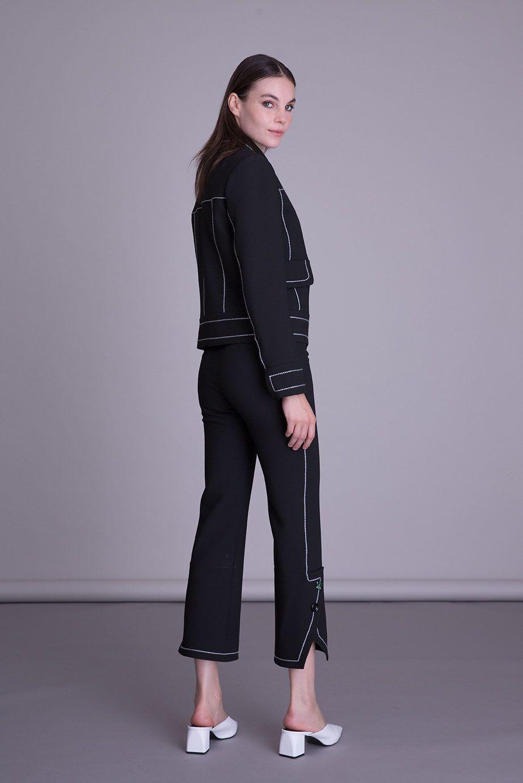 Dikiş Detaylı Siyah Capri Kumaş Pantolon