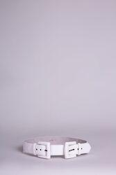 Double Buckle Ecru Leather Belt
