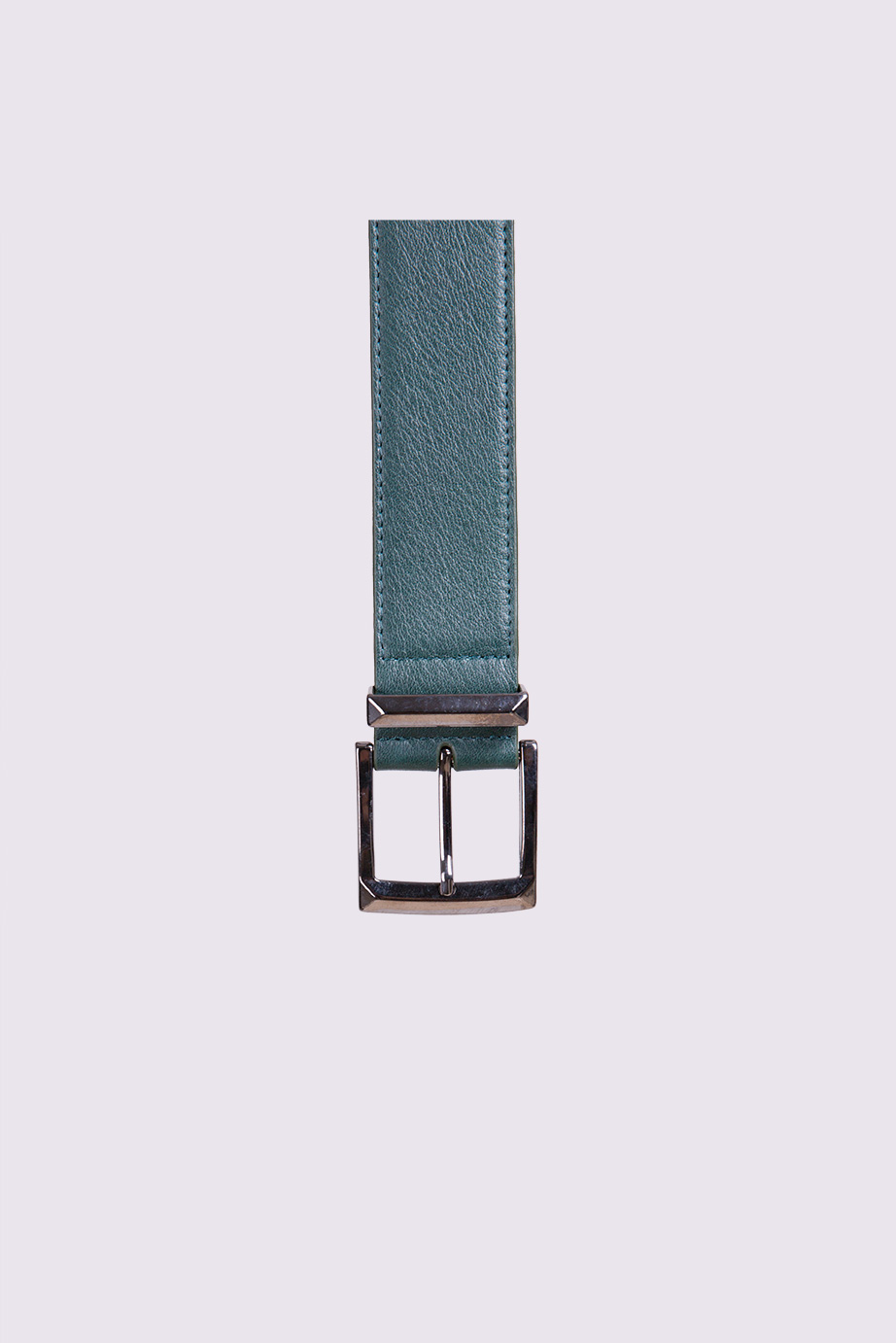 Double Buckle Green Leather Belt