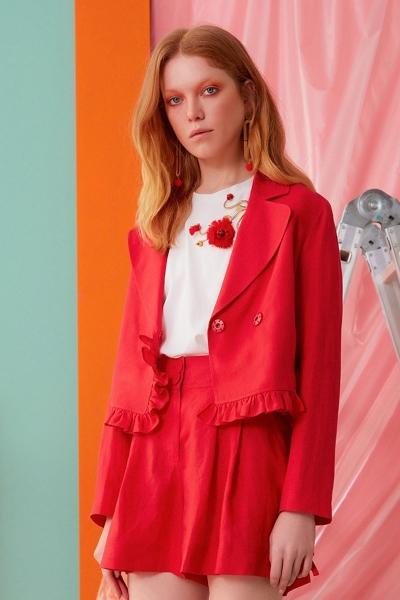 GIZIA CASUAL - Fırfır Detaylı Kırmızı Ceket