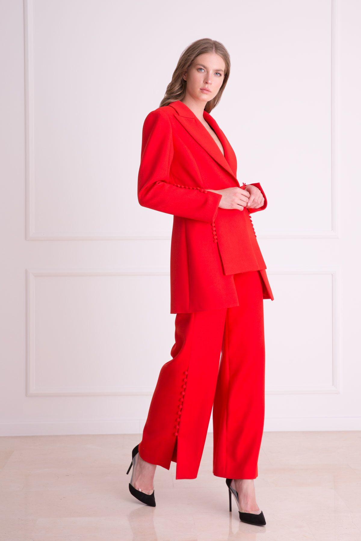 Düğme Aksesuarlı Bol Paça Kırmızı Pantolon