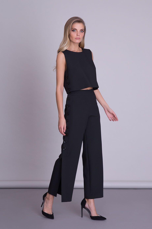 Düğme Detaylı Siyah Crop Top Bluz