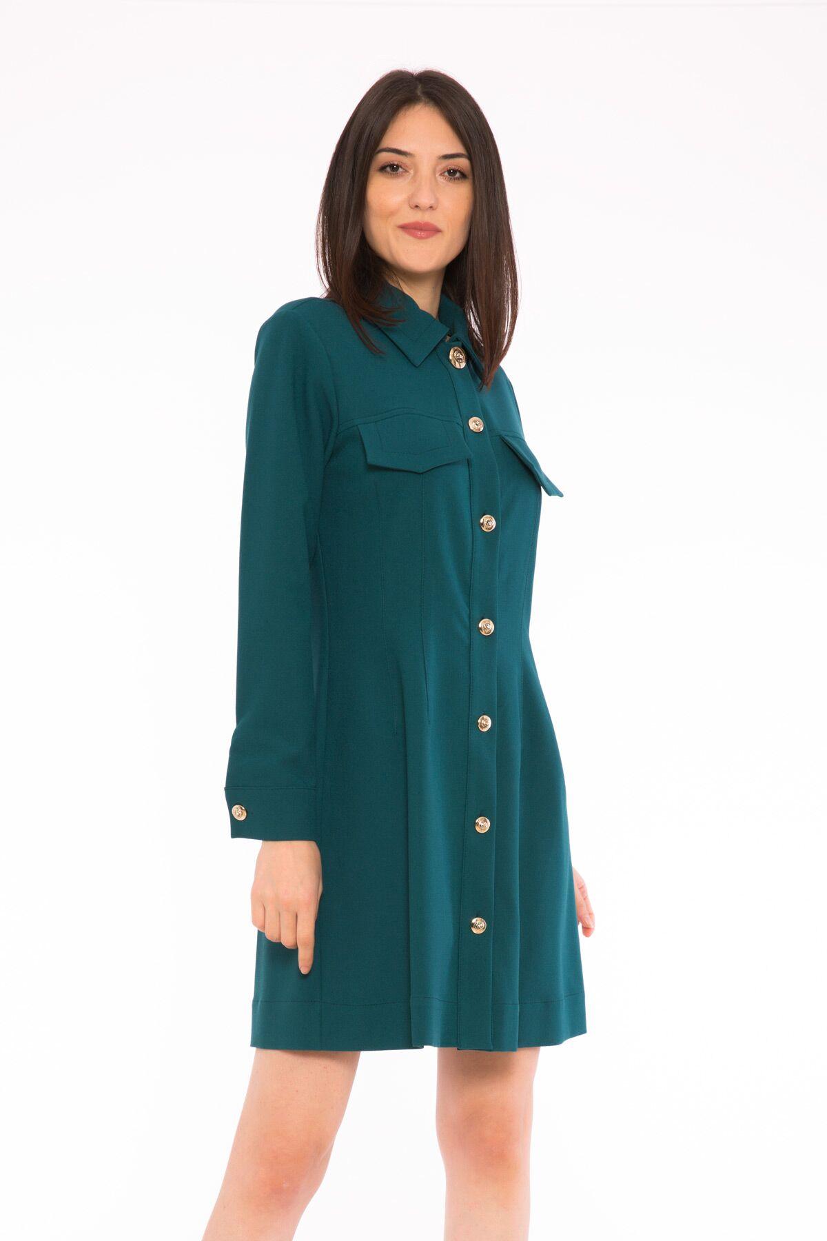 Düğme Detaylı Cepli Detaylı Mini Elbise