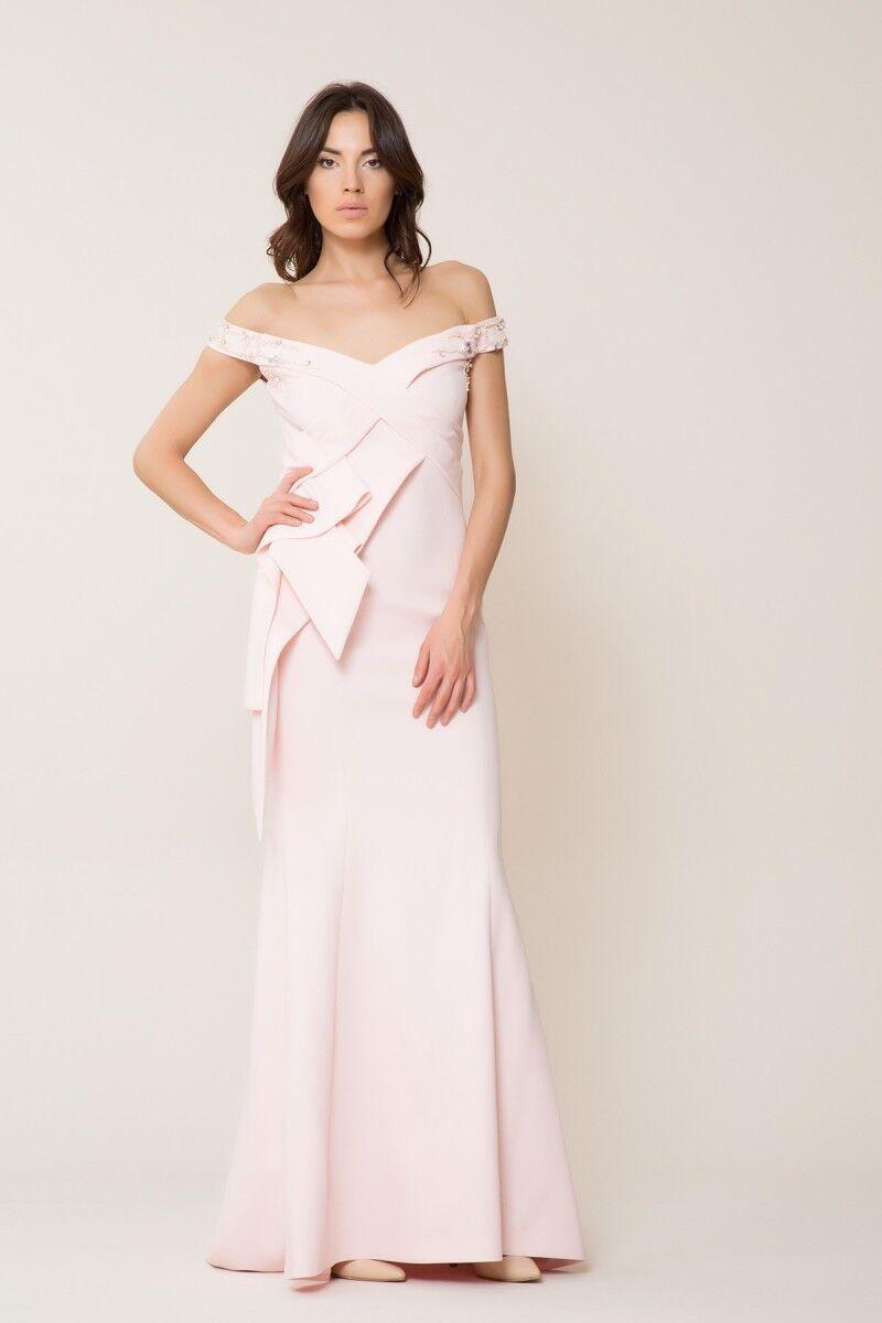 Düşük Yaka Pudra Uzun Elbise
