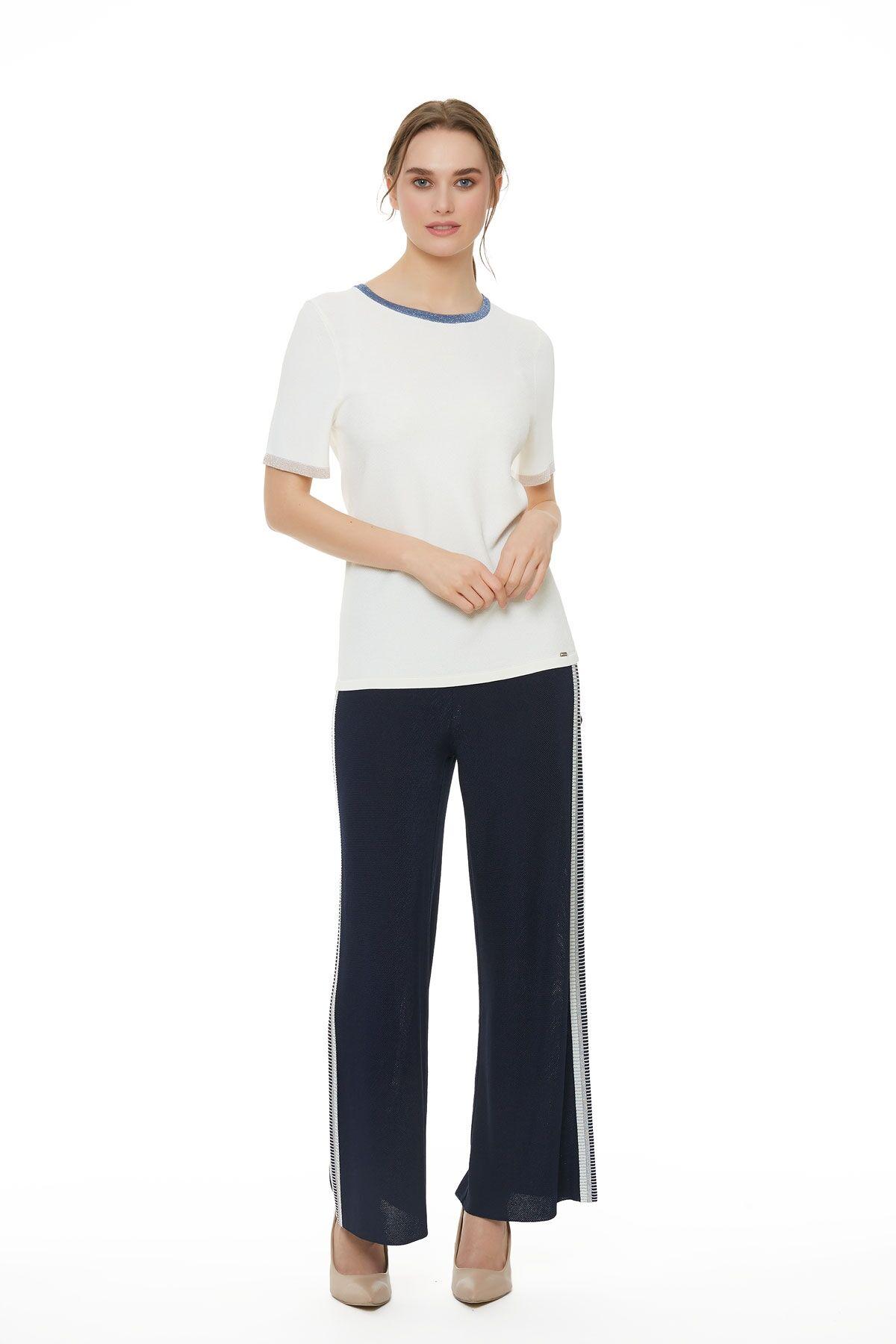 Düz Paça Koyu Mavi Triko Pantolon