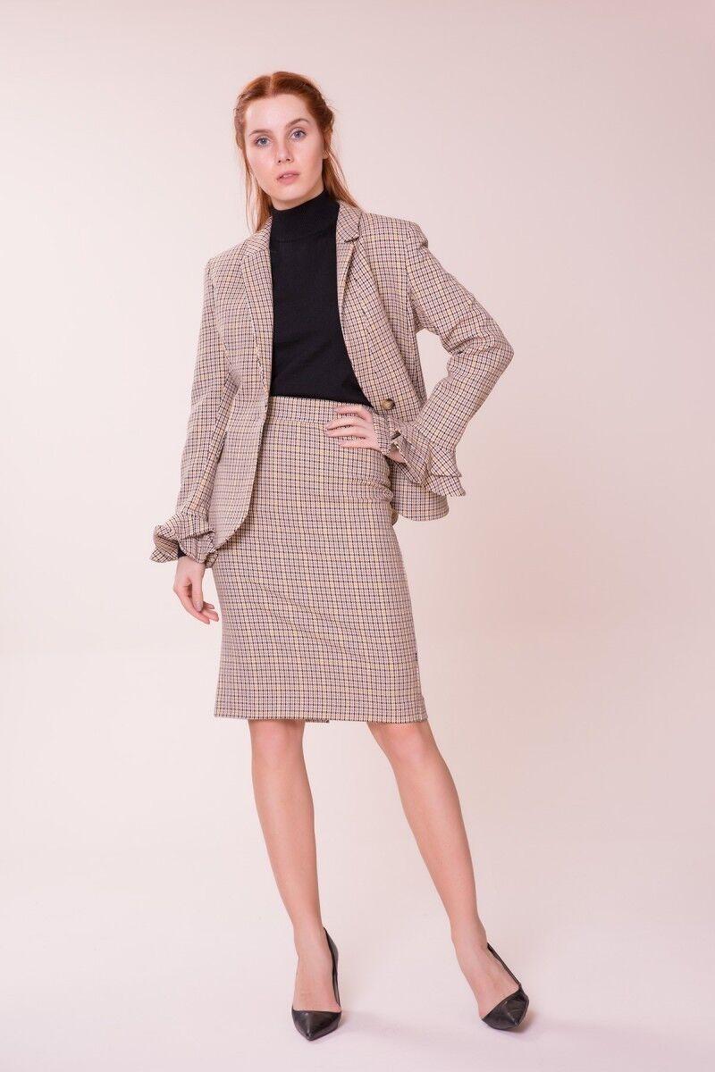 GIZIA CASUAL - Fırfır Detaylı Ekose Ceketi