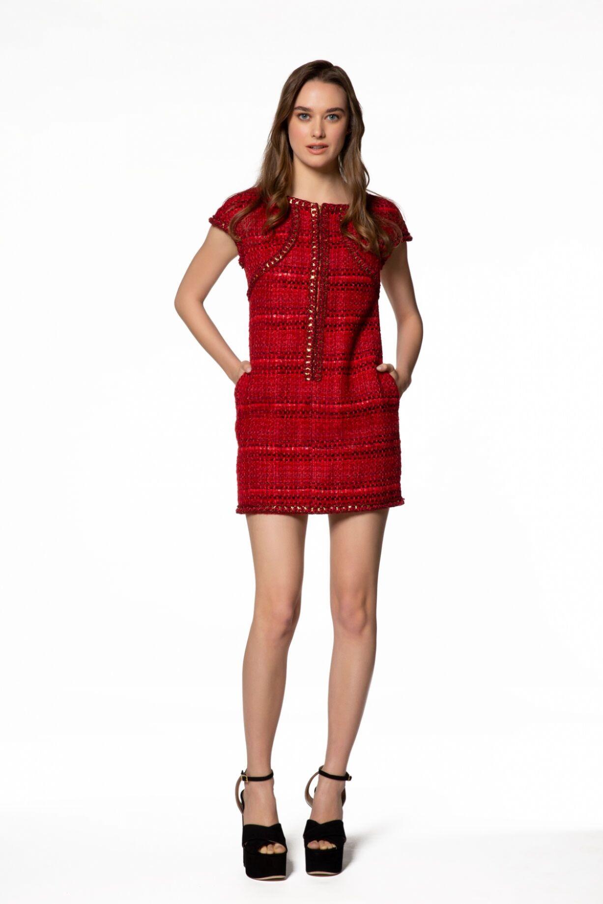 Ekose Desenli Mini Kırmızı Elbise