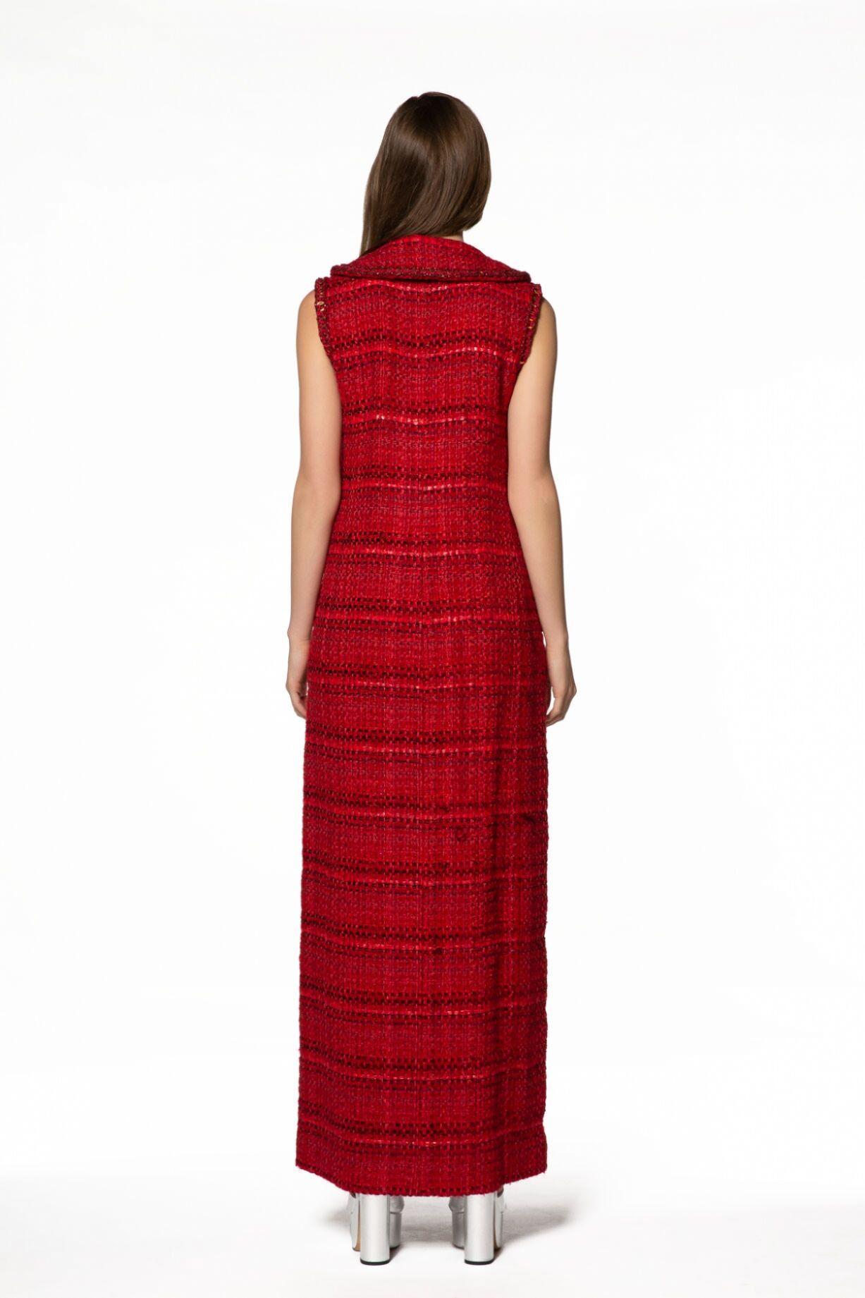Ekose Desenli Uzun Kırmızı Elbise
