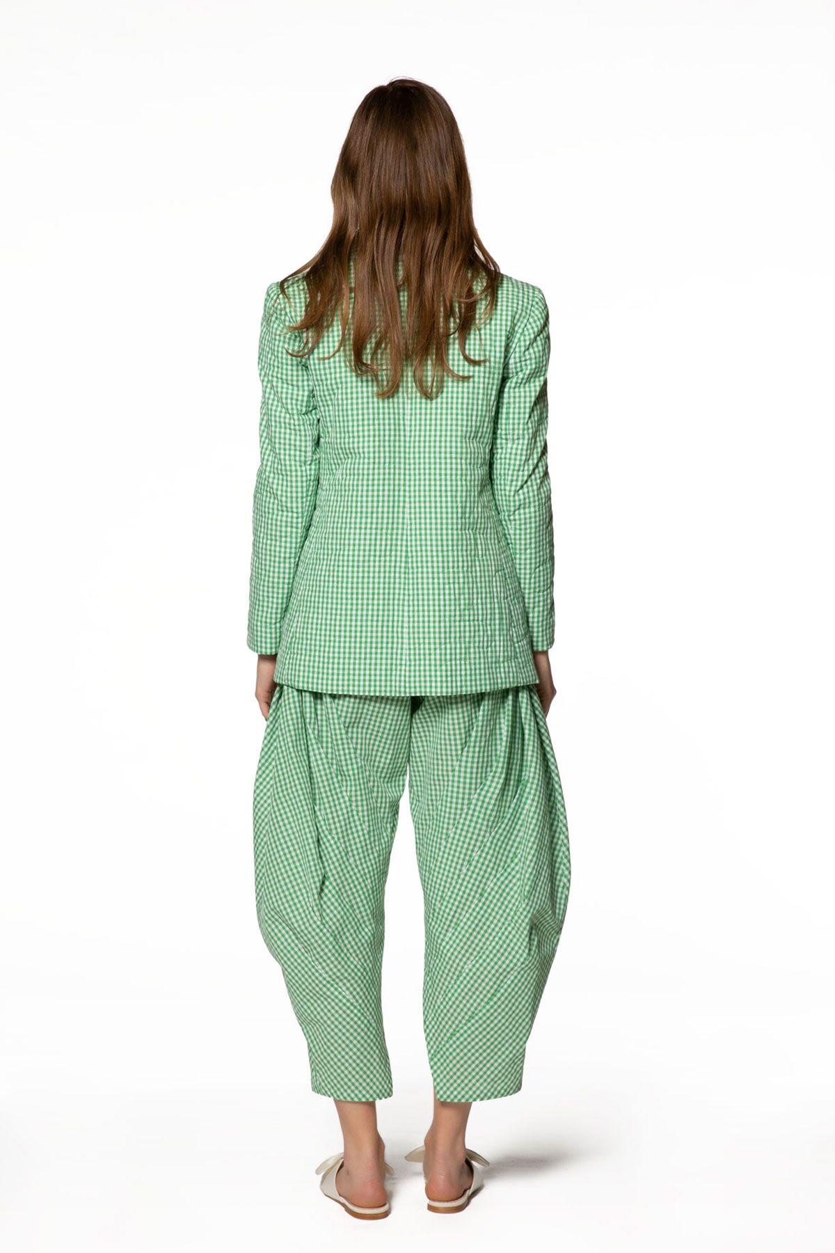 Ekose Desenli Yeşil Ceket