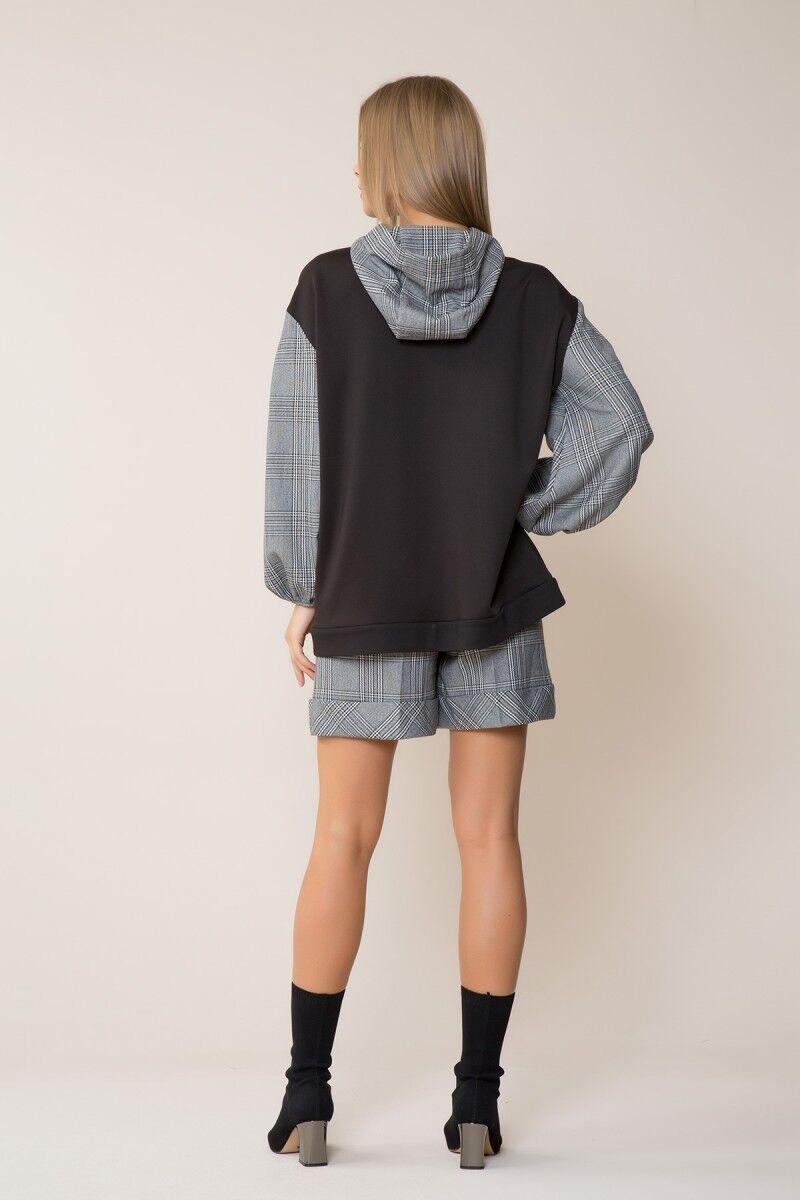GIZIA CASUAL - Ekose-Siyah Spor Bluz