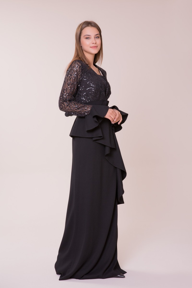 Embroidered Black Long Dress