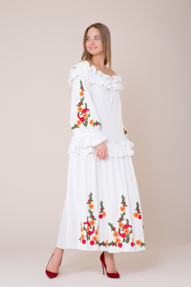 Embroidery and Ruffle Detailed White Dress