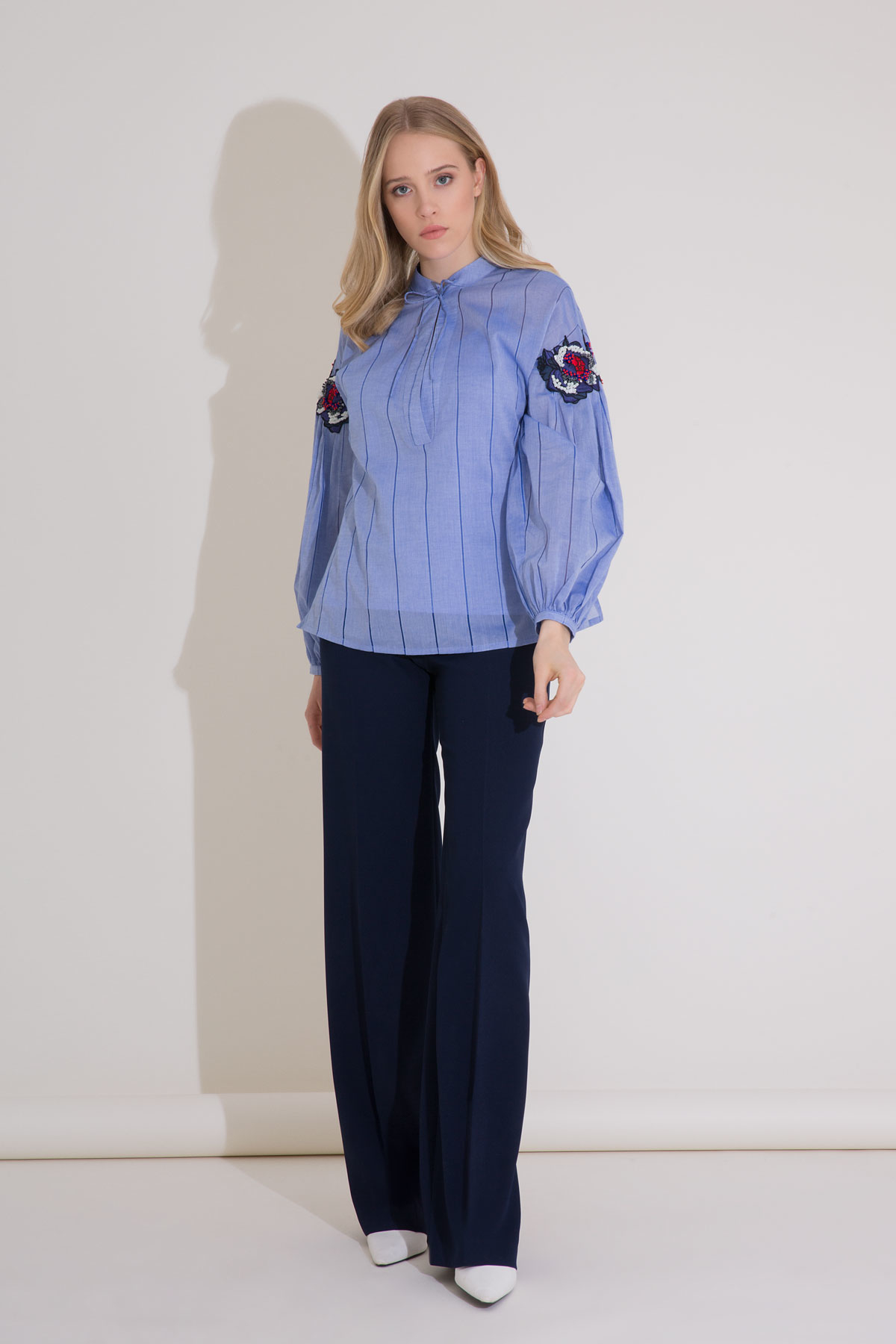 Embroidery Detail Blue Voile Blouse