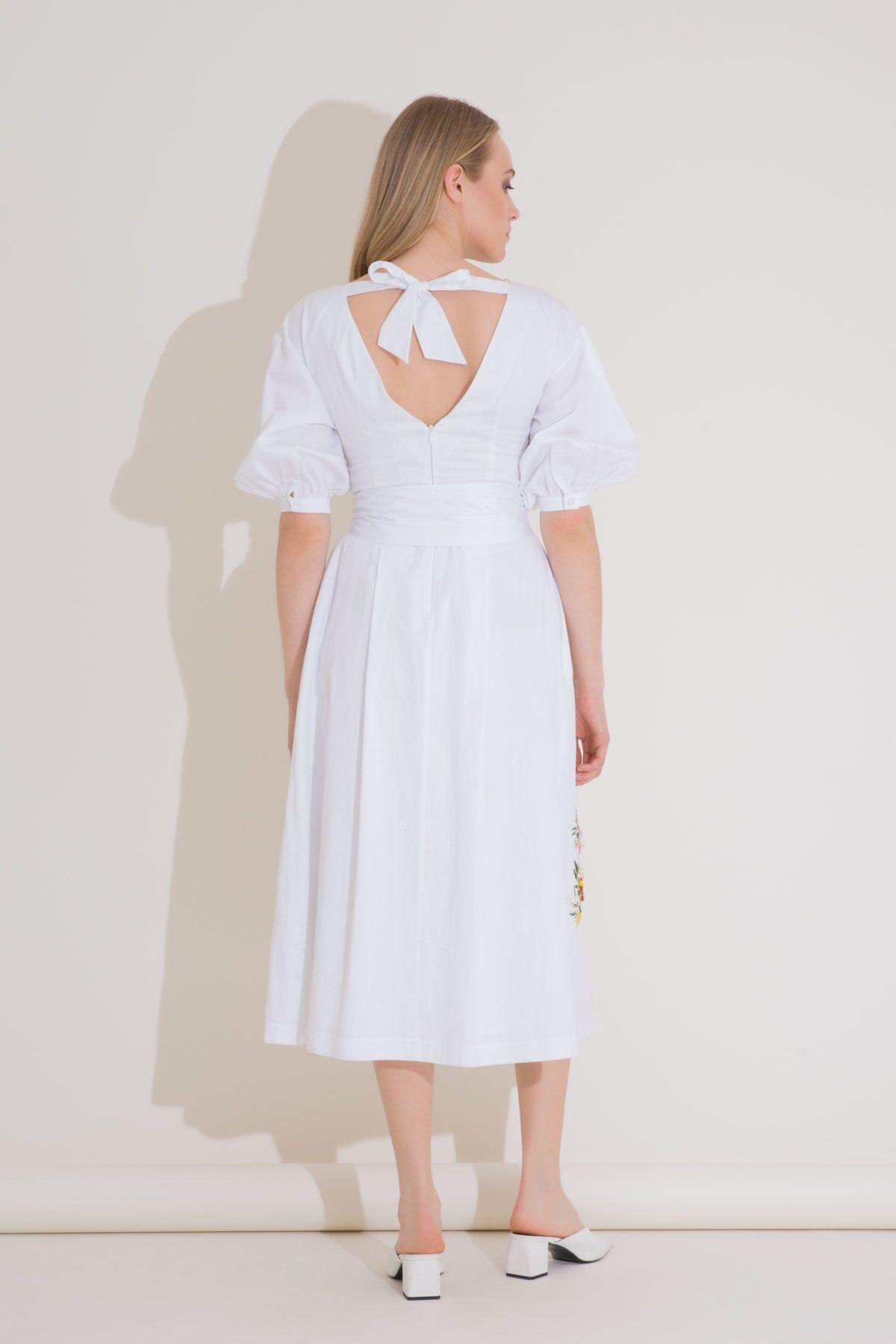 Embroidery Detailed White Midi Dress