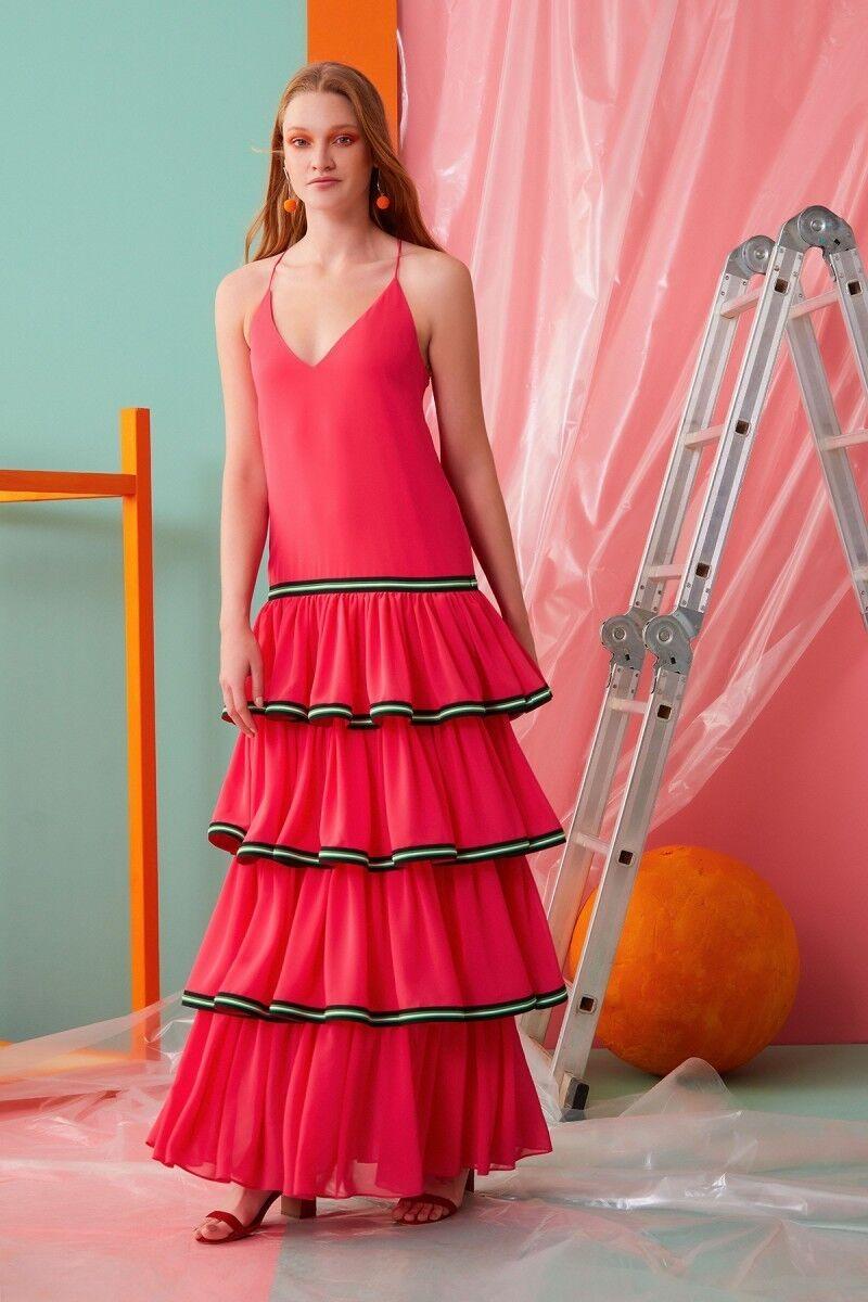 İp Askılı V Yaka Fırfır Detaylı Pembe Elbise