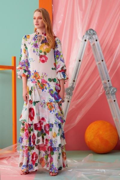 GIZIA CASUAL - Yaka İp Detaylı Çiçekli Uzun Elbise