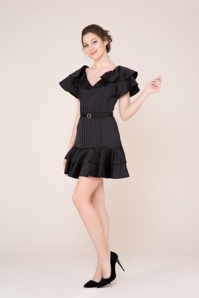 GIZIA CASUAL - Fırfır ve Kemer Detaylı Siyah Mini Elbise