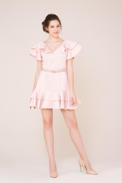 GIZIA CASUAL - Fırfır ve Kemer Detaylı Açık Pudra Mini Elbise