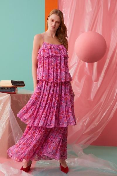 GIZIA CASUAL - İp Askılı Fırfır Detaylı Pembe Elbise