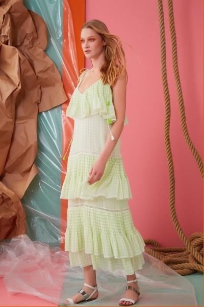 GIZIA CASUAL - İp Askılı V Yaka Fırfır Detaylı Yeşil Elbise