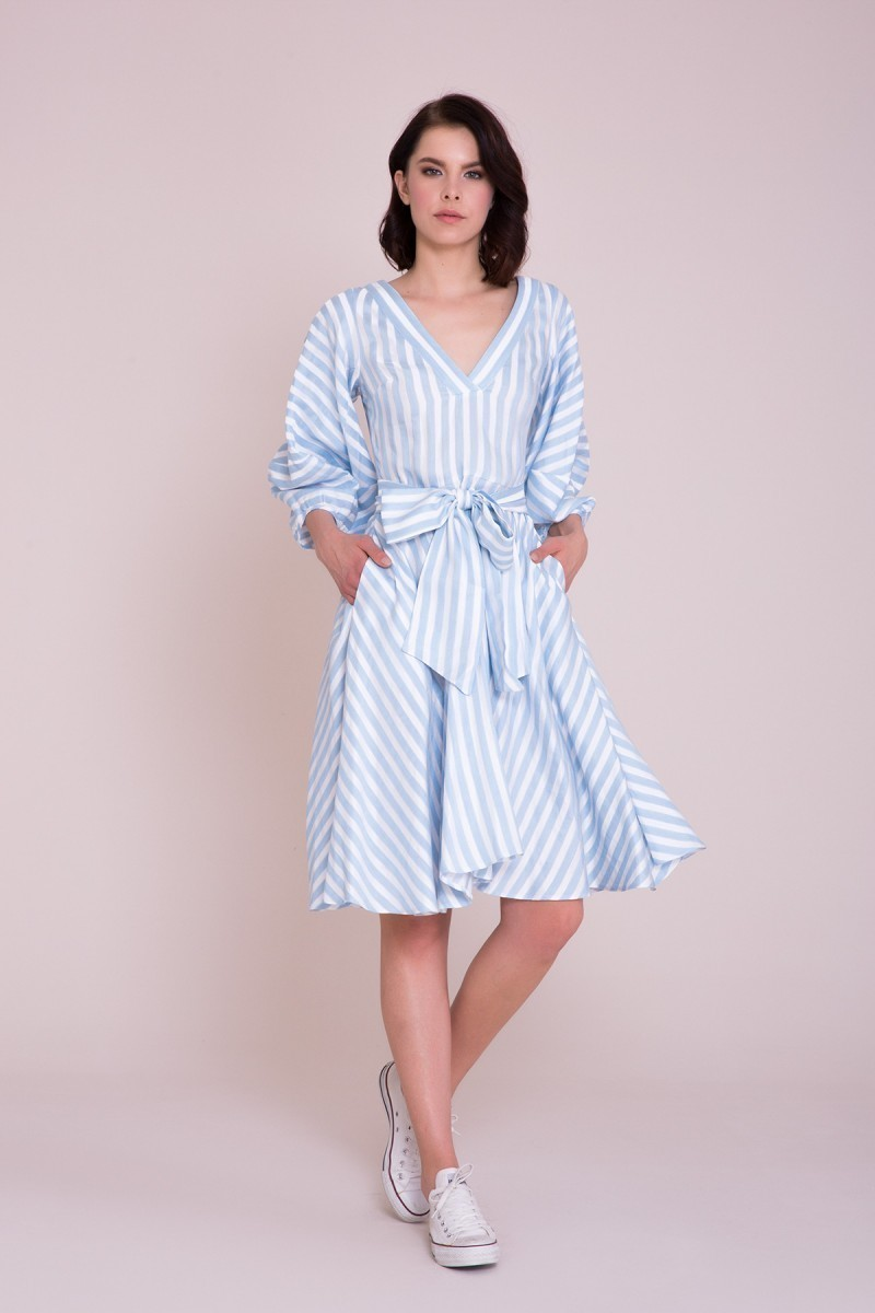 22c7c57acf2c GIZIA CASUAL - V Neck Striped Midi Dress