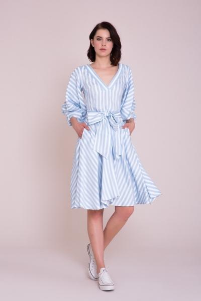 GIZIA CASUAL - V Yaka Çizgili Midi Elbise