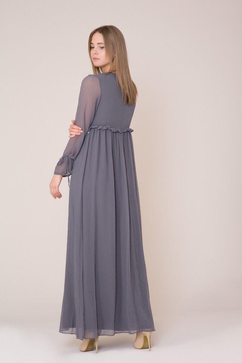İşlemeli Uzun Koyu Gri Elbise