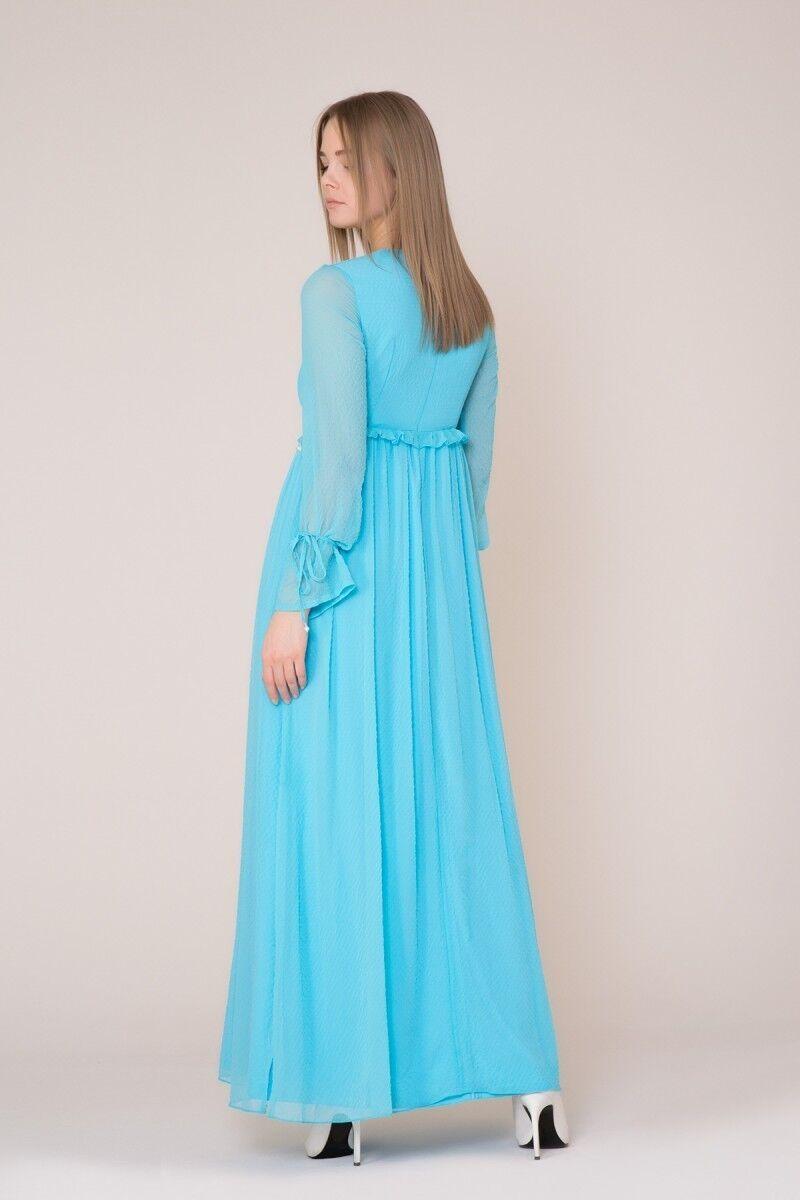 İşlemeli Uzun Turkuaz Elbise
