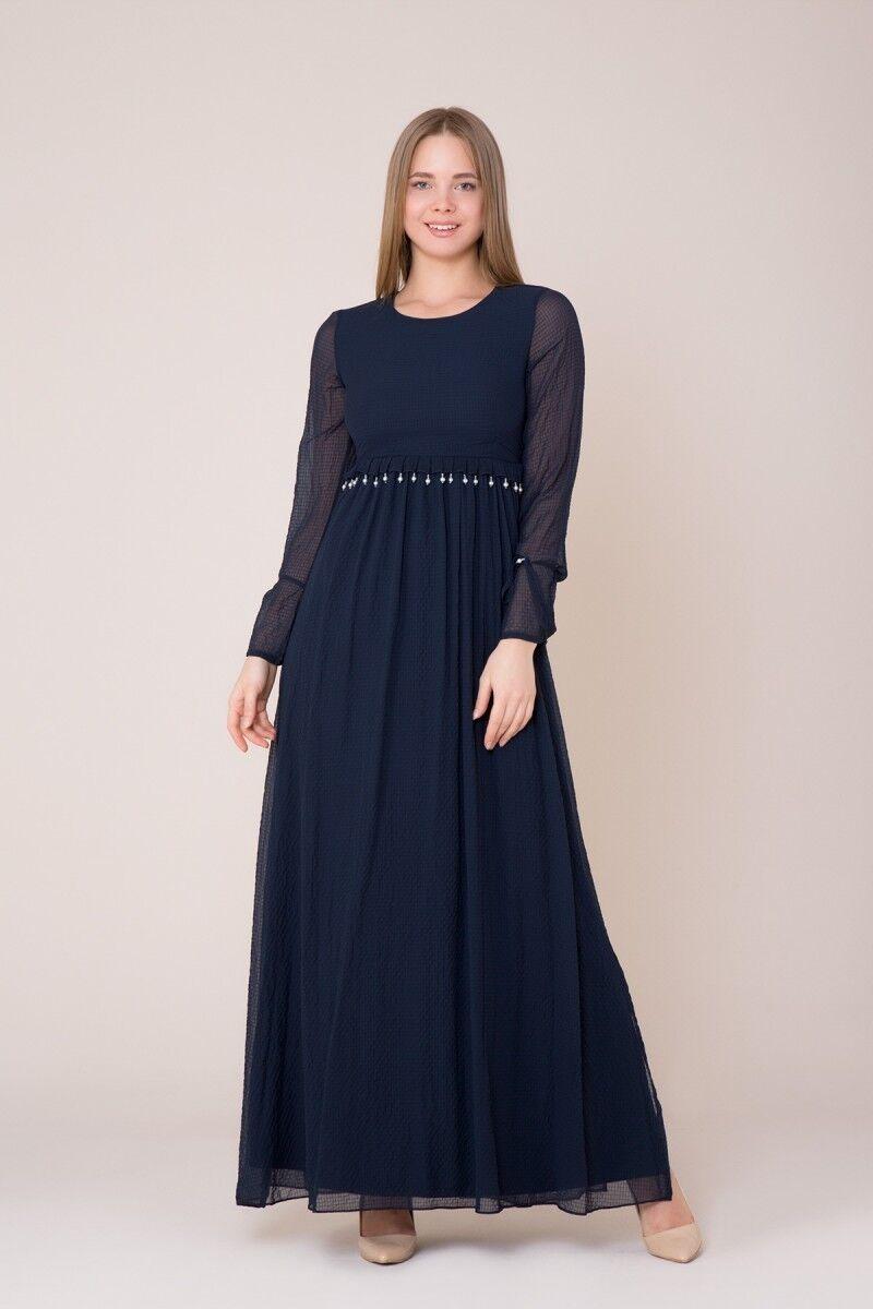 GIZIA CASUAL - İşlemeli Uzun Koyu Mavi Elbise