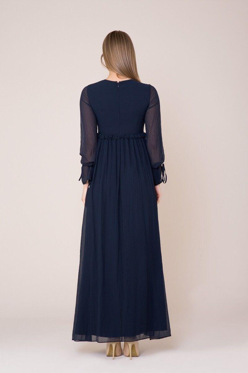 İşlemeli Uzun Koyu Mavi Elbise