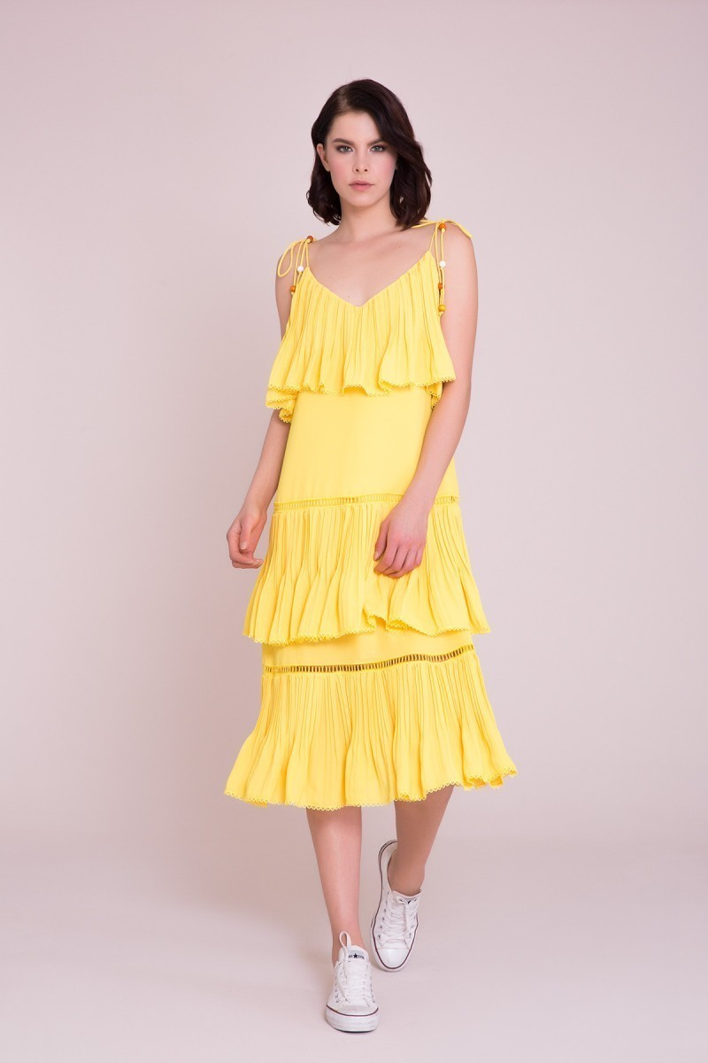 4588a865f7fa GIZIA CASUAL - Spaghetti Strap Yellow Midi Dress