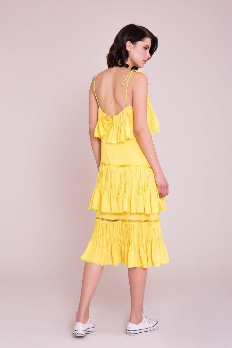 İp Askılı Sarı Midi Elbise