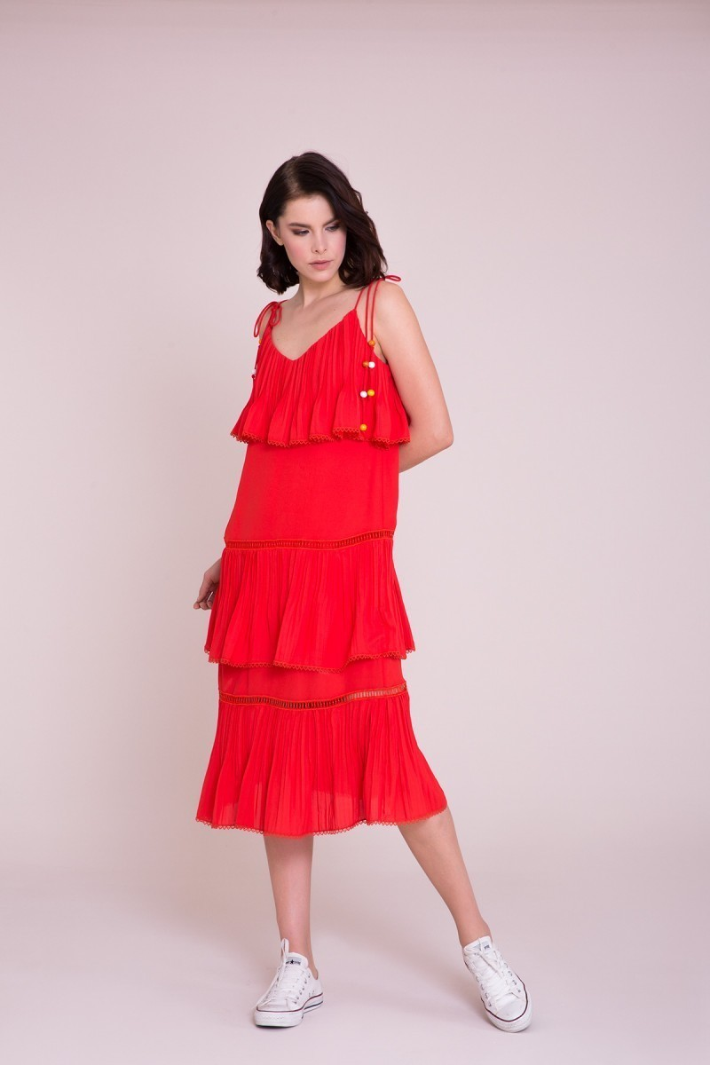 İp Askılı Coral Midi Elbise
