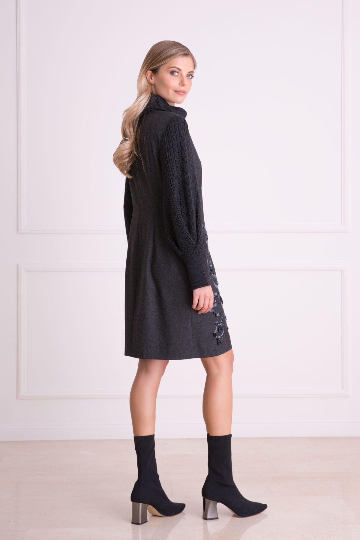 Etek İşlemeli Triko Detaylı Antrasit Gri Elbise