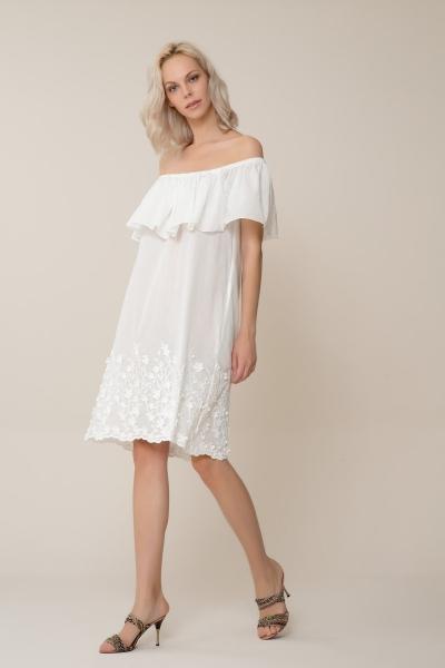 GIZIA CASUAL - Etek Ucu Çiçek Desenli Beyaz Mini Elbise
