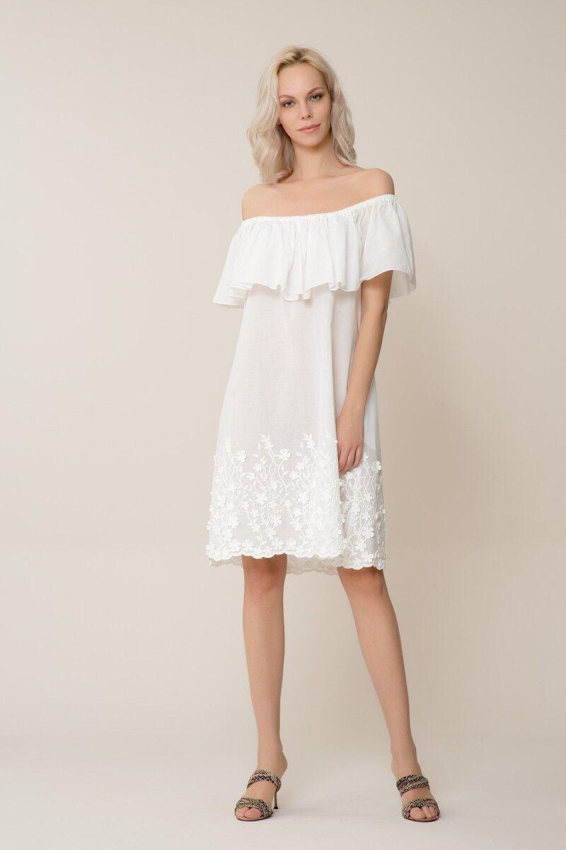 Etek Ucu Çiçek Desenli Beyaz Mini Elbise